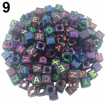 Harga Bluelans 100 Pcs DIY Random Alphabet/Letter Acrylic Cube Spacer Loose Beads Jewelry Making (#9)
