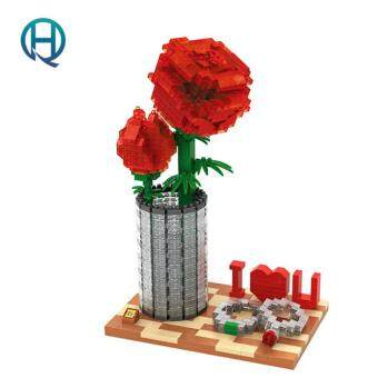 Harga Mini Nano Blocks Rose LOZ Building Blocks Artificial Flower Action Figure Diamond Blocks Compatible Legoelieds 9022