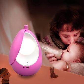 Harga Portable USB Rechargeable Night Light Nursery Lamp Tumbler LED Soft Eye Care Lamp LED Nightlight with Creative Touch Switch(Cool White)