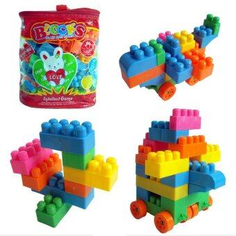 Harga 360DSC Reusable 74-Piece Plastic Kids Puzzle Educational Building Blocks Bricks Toys DIY Bloks Toy Set