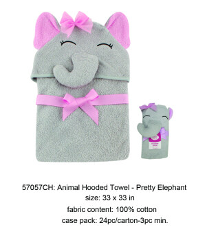 Harga Luvable Friends Animal Face Hooded Towel Woven Terry- Pretty Elephant