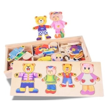 Harga Bear Wooden Magnetic Puzzle Learning and Education Kids Pipe Plug Match Building Block Puzzle Pieces Blocks