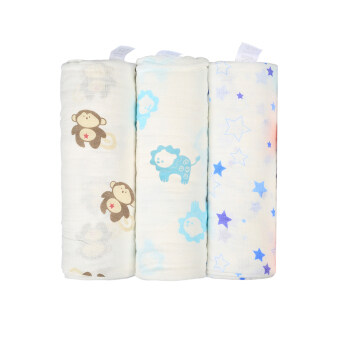 Harga Premium Muslin Swaddle Blankets - Let Baby Enjoy Being Swaddled - Pack Of 3 Unisex Designs - Luxurious Breathable Soft Cotton