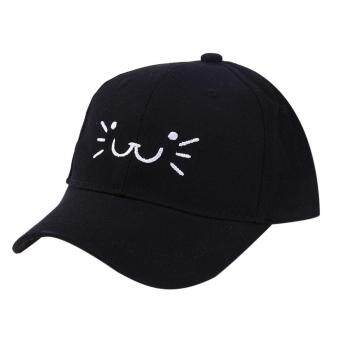 Harga Cute Cat Smiling Face Snapback Hat Unisex Baby Baseball Cap Sun Hats(Black)