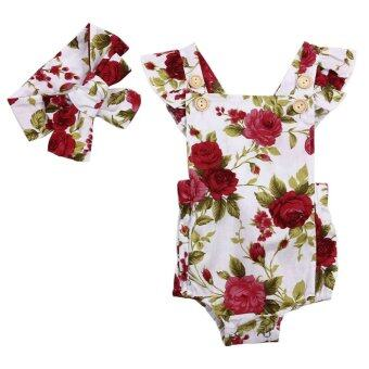 Harga Summer Baby Girl Cute Floral Printed Halter Sleeveless Romper + Headband Outfits