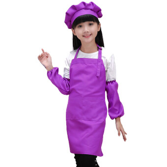 Harga Gracefulvara Cute Children Kids Plain Apron Kitchen Cooking Baking Cooking Craft Art Bib - Purple