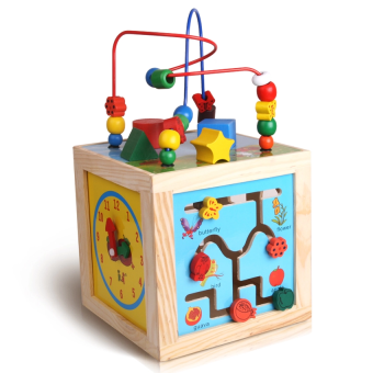 Harga Learning Cube Bead Maze + Clock + Shapes + Beads Maze Wooden Educational Toys