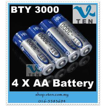 Harga 4pcs BTY 3000 1.2V AA Ni-MH Rechargeable Battery Batteries