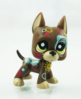 Harga 2.3'' Brown Dane Dog Puppy Tattoo Puppy Kids Toys Girl toys Littlest Pet Shop LPS 1439 Green Eyes