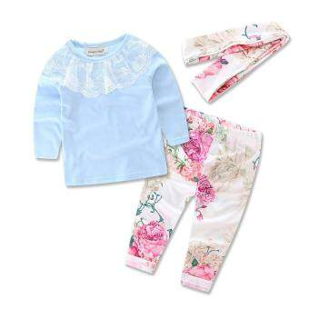 Ins 2017 froral girl Spring clothes t-shirt+Pants +headwear 3 pcs pattern set of clothes newborn baby suit children clothing set