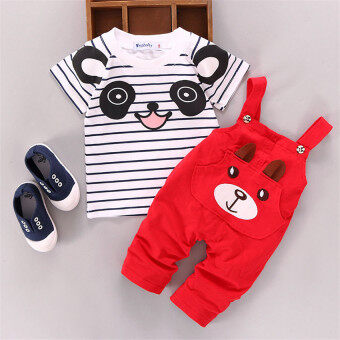Ishowmall 2PCS Newborn Kids Baby Boy Girls T-shirt Tops+Pants Overalls Outfits Clothes Set Red