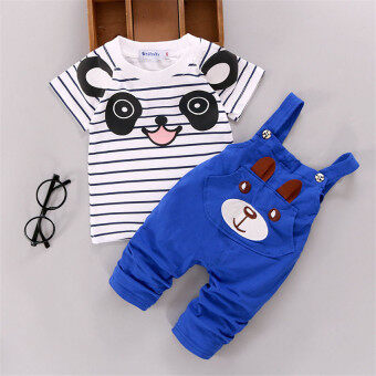 Ishowmall 2PCS Newborn Kids Baby Boy Girls T-shirt Tops+PantsOveralls Outfits Clothes Set Dark Blue