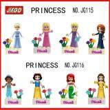 Jiego Set of 8 Princess Minifigures Blocks(Cinderella, Aurora, Rapunzel, Merida, Ariel, Snow White, Belle)