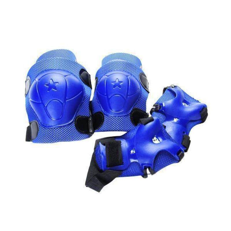 Kid Cycling Roller Skating Knee Elbow Wrist Protective Pads (Dark Blue)
