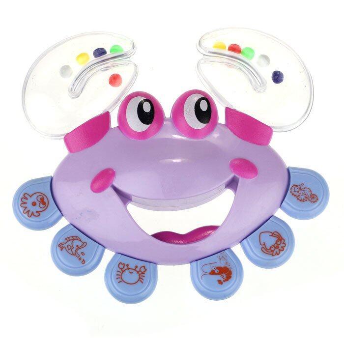 Anak-anak Bayi Crab Desain Handbell Alat Musik Jingle Rattle Mainan Ungu-Internasional