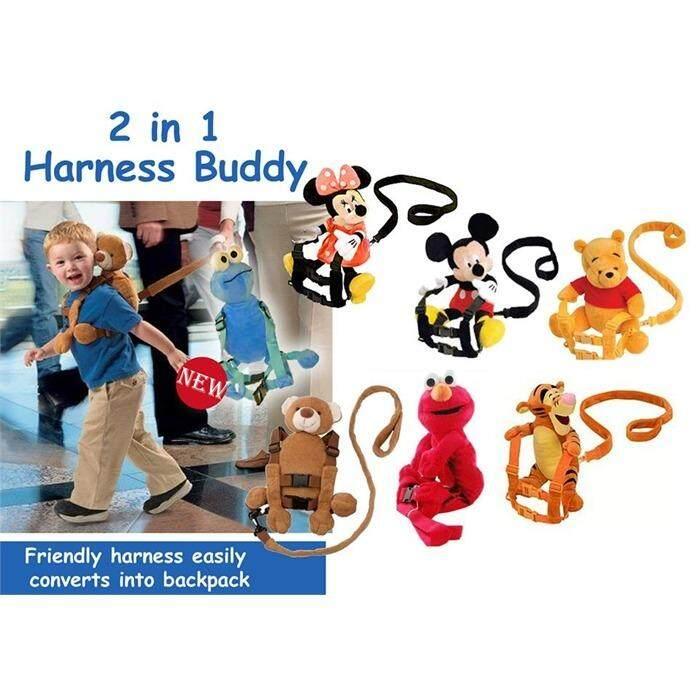 Kids Baby Safety Anti-lost Strap Walking Harness Toddler Wrist Buddy Bag (elmo biru)
