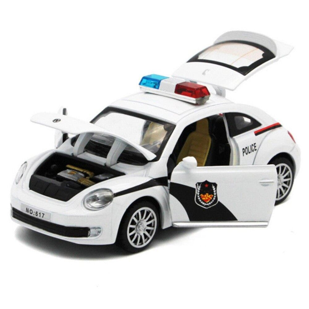 Kids Boys Police Car Truck Model Toys Pull Back with Sound&Lights Open Door New - intl