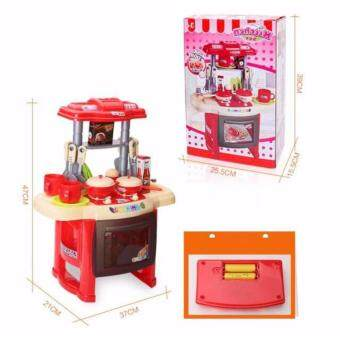 Kids Mini Kitchen Fun Playset With Full Utensils Set (Red)