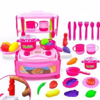 Harga Kitchen Series Cook Happy Happy Kitchen PlaySet Children PortableToy Play Set Educational Toys Kids babies (Pink)