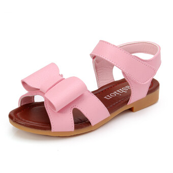 Leather girls sandals Korean-style girl princess shoes big boystudent shoes Butterfly knot beach shoes baby sandals tide