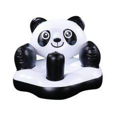 leegoal Portable Panda PVC Inflatable Bath Chair Baby Sofa For Kids, White Black