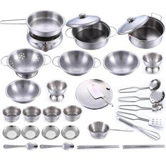 LT365 32Pcs Stainless Steel Kids House Kitchen Toy Cooking CookwareChildren Pretend & Play Kitchen Playset - Silver