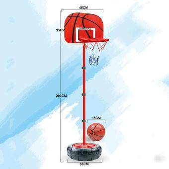 LT365 83-200CM Basketball Stands Height Adjustable Kids Basketball Goal Hoop Toy Set with Iron Frame and Tyre Base - Black + Red