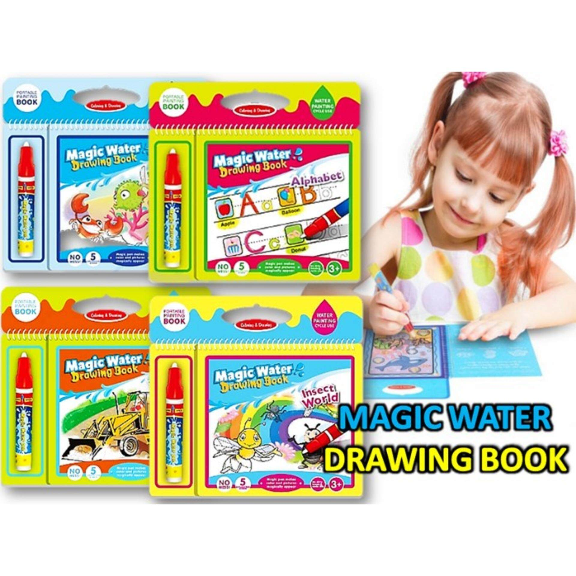 Magic Water Drawing Book Intimate Painting Board with Pen Educational Toy for Kid (radom)