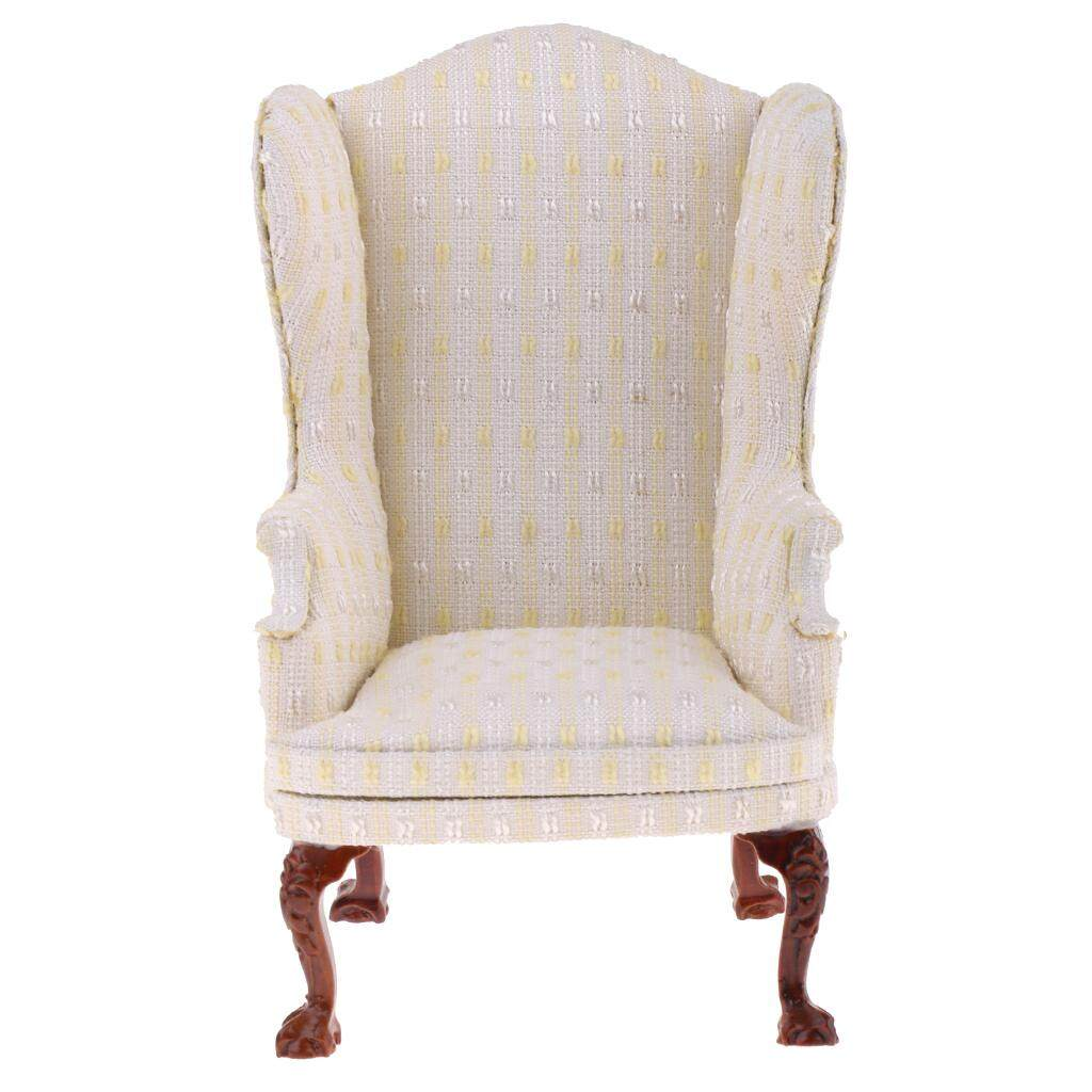 Magideal 1/6 Rumah Boneka Ruang Tamu Furniture Wing Kursi Sofa Tunggal Model Mainan Krem-Internasional