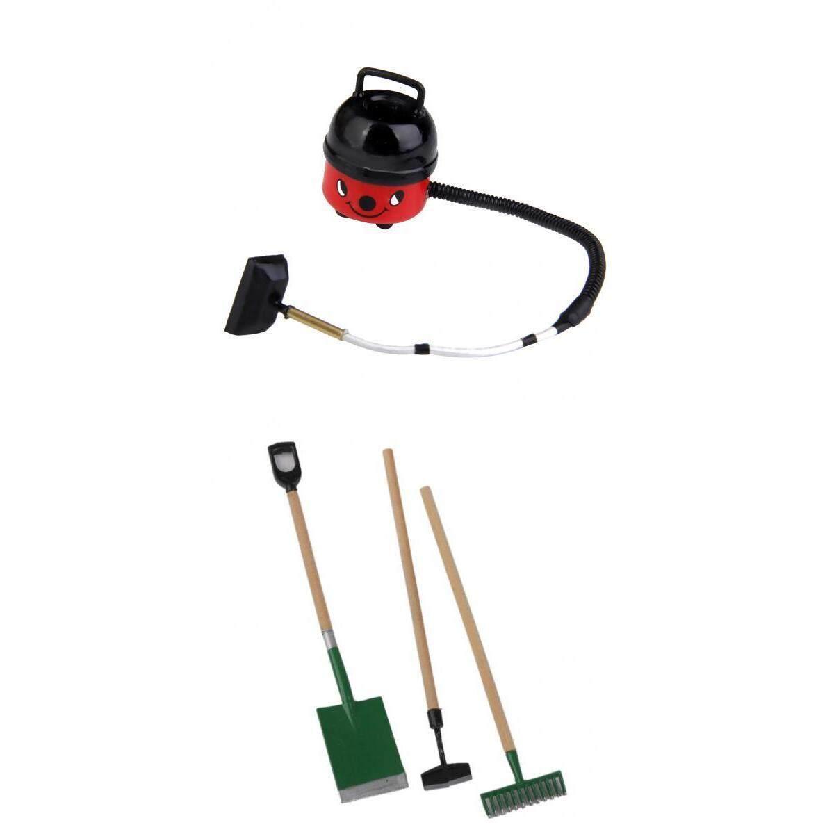 Magideal 3 Pieces Taman Tools + Lucu Merah Plastik Kekosongan Pembersih untuk 1/2 Rumah Boneka Miniatur Aksesoris-Internasional