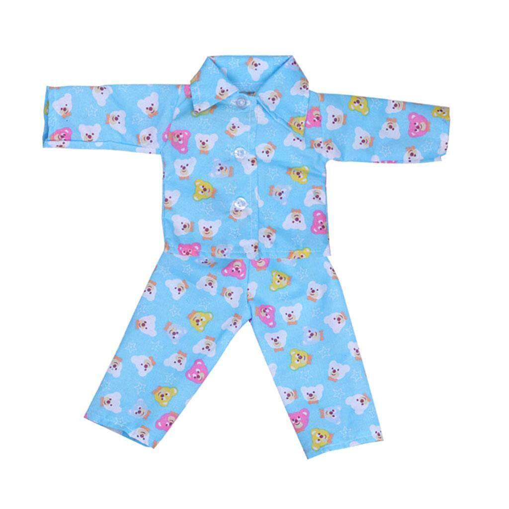 Magideal Lucu Beruang Dicetak Lengan Panjang Kemeja Celana Piyama Setelan Pakaian untuk 18 Inci Amerika Perempuan AG Zapf Bayi Lahir boneka Gaun Hingga Anak-anak Role Permainan Biru-Internasional