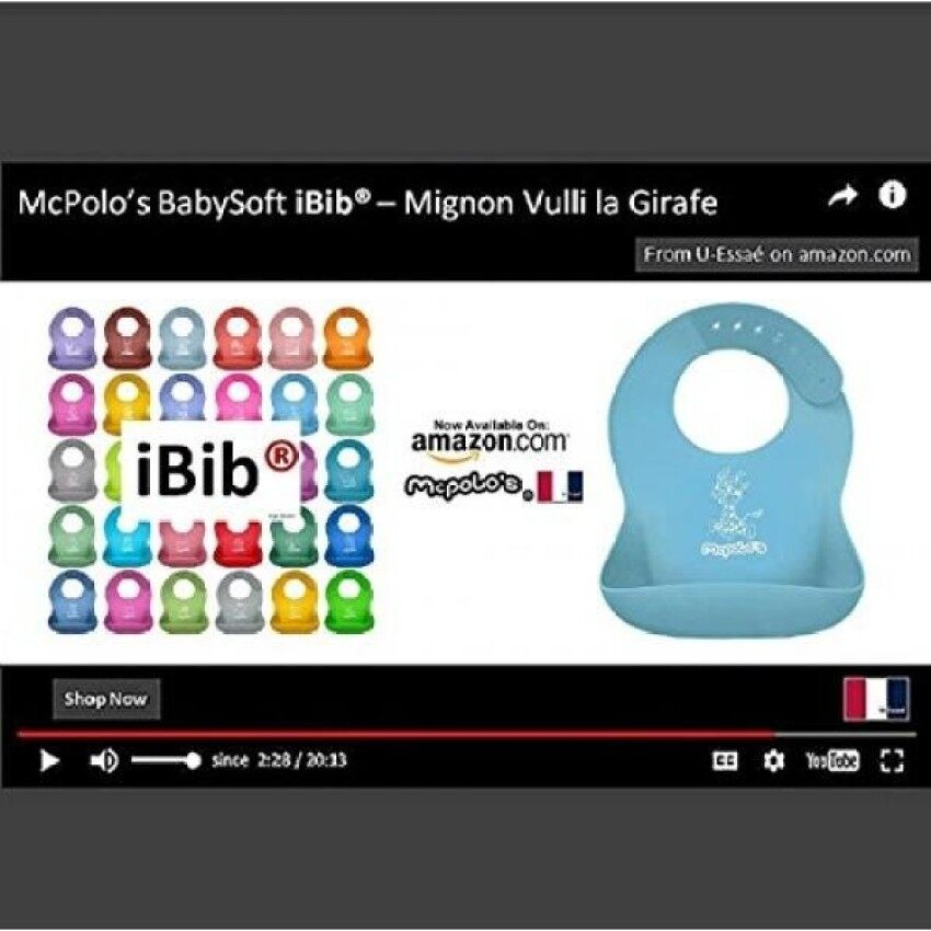 McPolos Mignon Vulli la Girafe iBib 100% Portable Silicone BabyBib. Waterproof Food Crumb Catcher Pocket Ultra Soft Easily WipesClean Stains Off Best for O to 6 YO Babies Toddlers PreSchoolers XIN CX 065 - intl