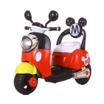 Harga Mickey & Minnie Mouse Kids Electronic Scooter With BackSupport-HLM6688 (RED)