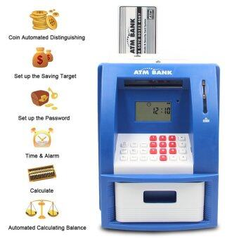 Mini ATM Bank Piggy Bank Personal Saving Money Box Machine WithDigital Display For Children As Gift Blue