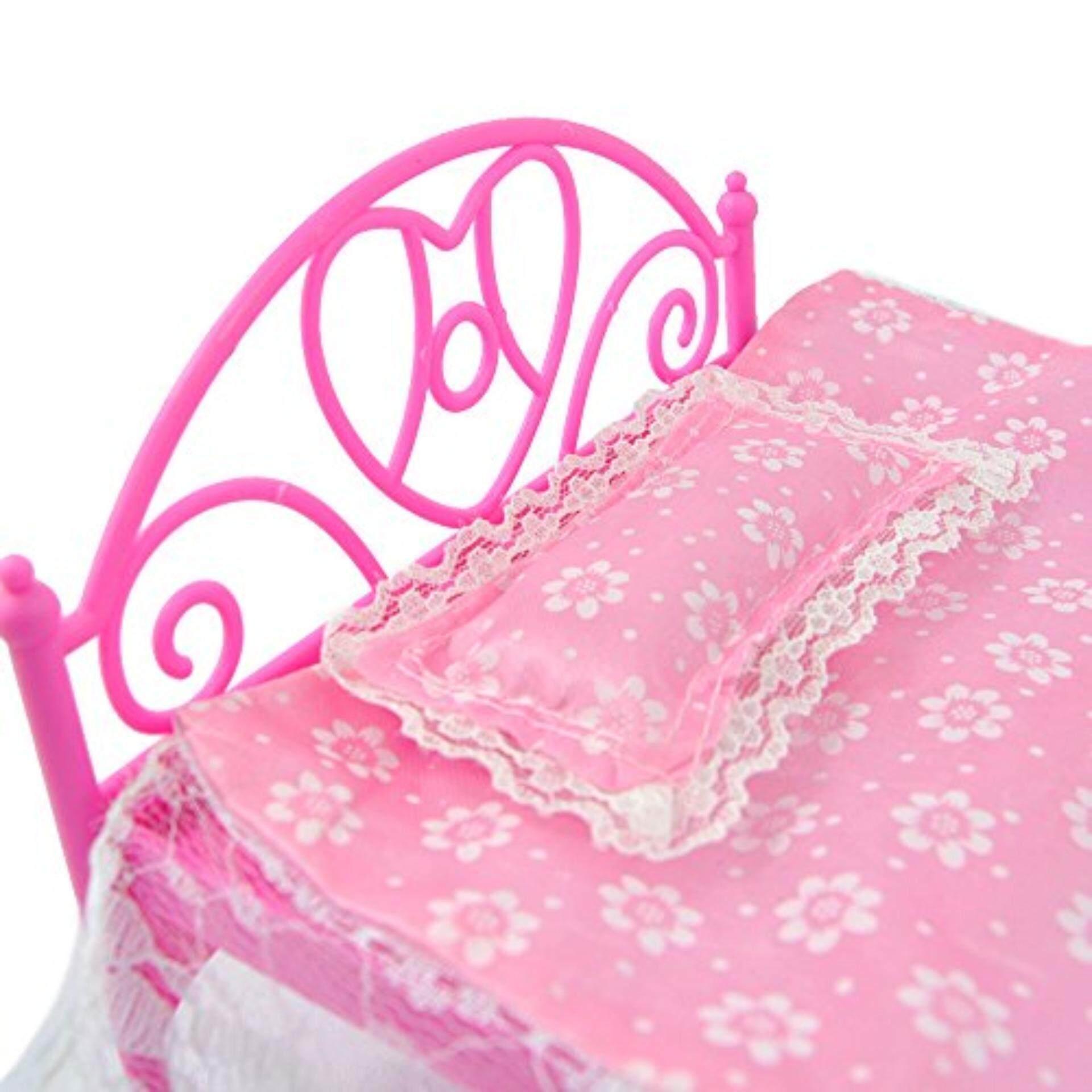 Mini Merah Muda Tempat Tidur dengan Bantal untuk Boneka Boneka Rumah Boneka Bedroom Furniture-Internasional