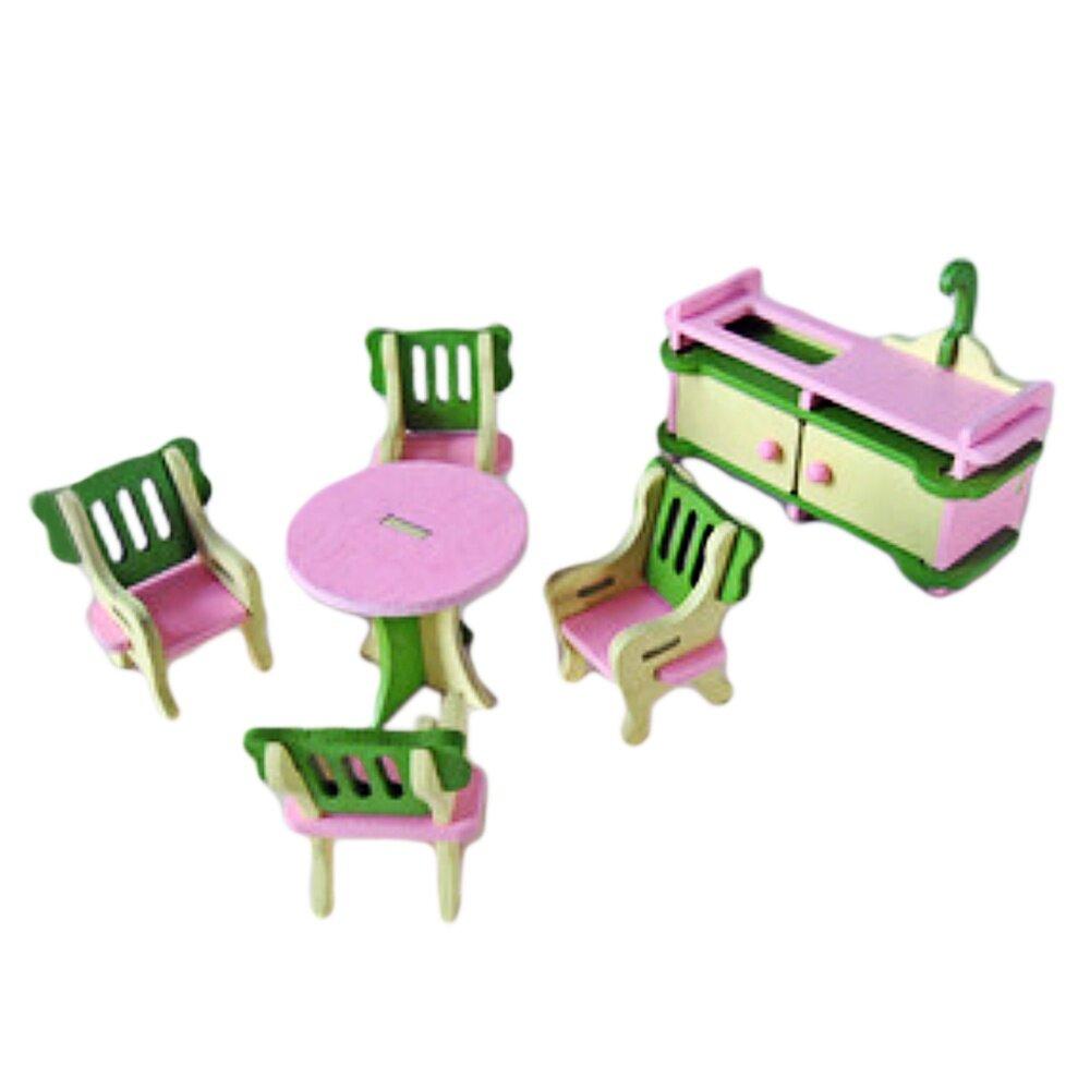 Mini Wooden Dollhouse Kitchen Furniture Kid Children Toy Set C - intl