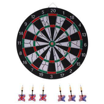 Miracle Shining Portable Double-sided Dart Board Hanging Dartboard Bulls-Eye Game with 6 Brass Darts