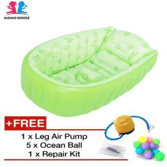 Harga MOMO House Inflatable Baby Bathtub Swimming Pool - Eco Friendly Material, Safety Design & Comfortable (Green)