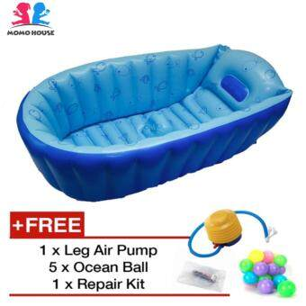 Harga MOMO House Inflatable Bathtub Swimming Pool - Eco Friendly Material, Safety Design & Comfortable (Blue)