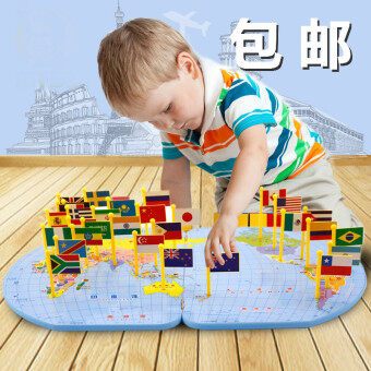 Harga Montessori baby early childhood puzzle force world plug flag Map
