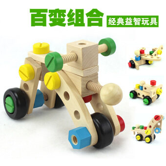 Harga Montessori wooden early childhood educational trade removablescrews car