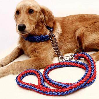 Harga Moonar Dog Traction Rope Set Traction Dog Chain Lead Dog Leash PetTraction Rope Chain Harness Dog Collar Pet (1.3m*1.5cm, Red- Blue)