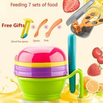 Multi-functional8 in 1 Baby Food Grinder Set ManualGrinder+Filter+Lapping Plate+Bowl+Pestle Vegetables & FruitsGrinding Tools +Multifunctional Baby Food Scissors