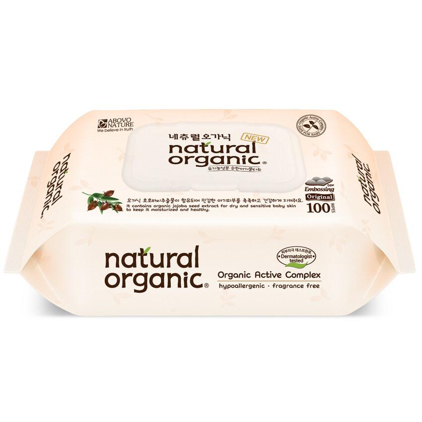 Natural Organic Original Embossing Baby Wipes with Antibacterial CAP (100 sheets)