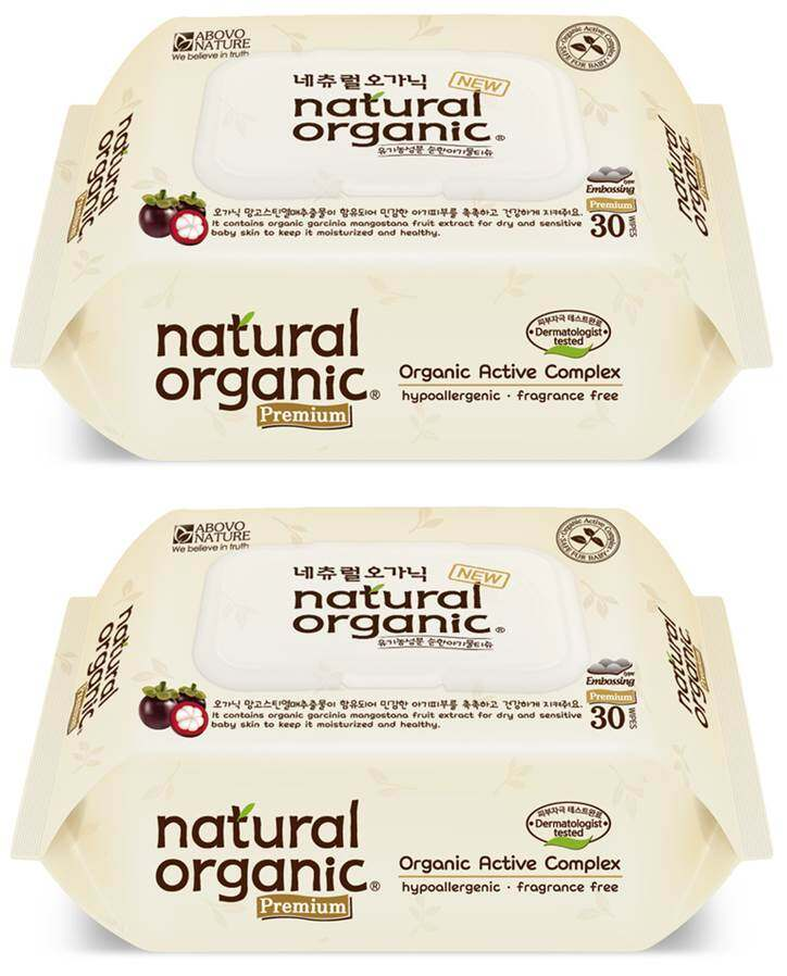 Natural Organic Portable Premium Wipes with CAP (30 sheets x 2 packs)