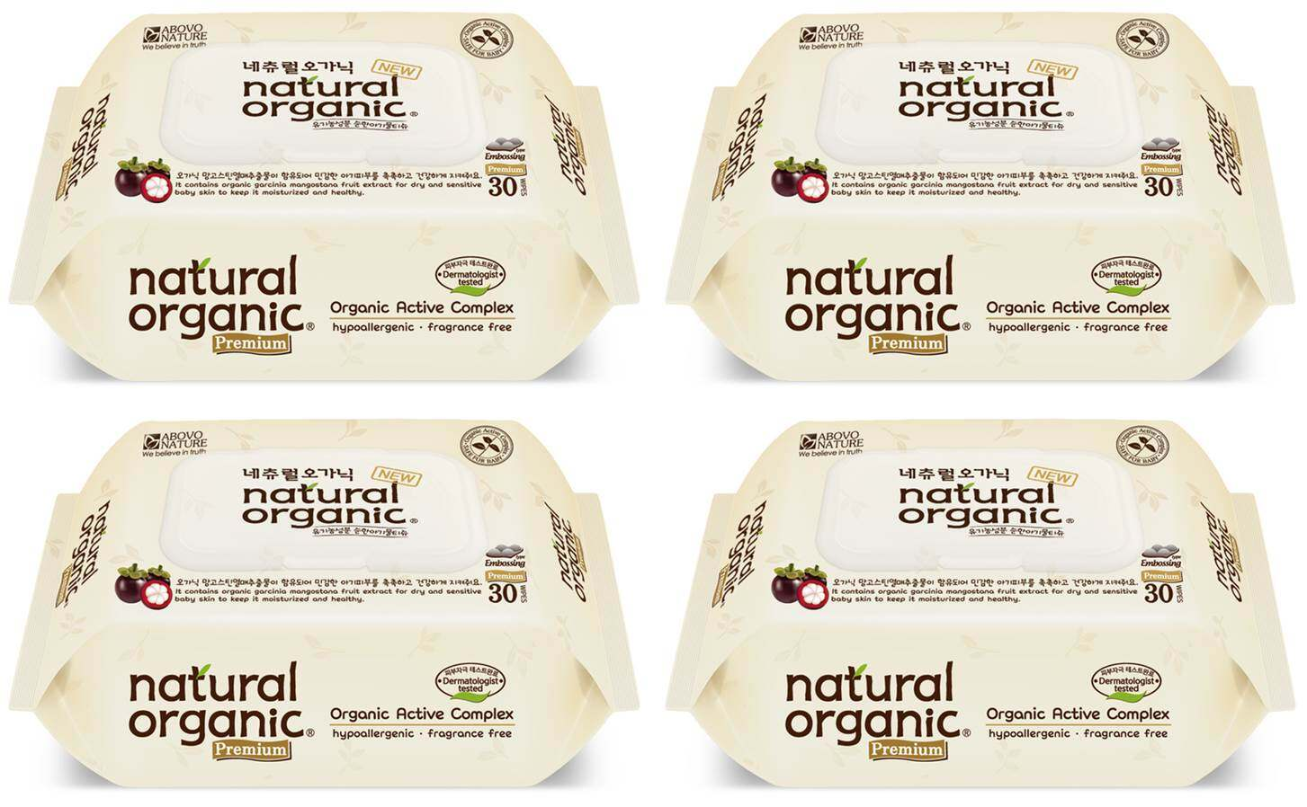 Natural Organic Portable Premium Wipes with CAP (30 sheets x 4 packs)