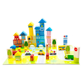 Harga NaVa 62 PCS Advance City & Transportation Children WoodenBuilding Block with Mat