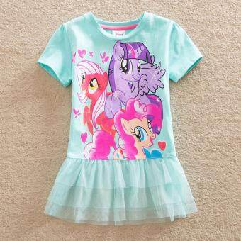 Harga NEAT Baby Girl Dresses With Short Sleeve My Little Pony PrettyPrincess And Lace Children Clothes