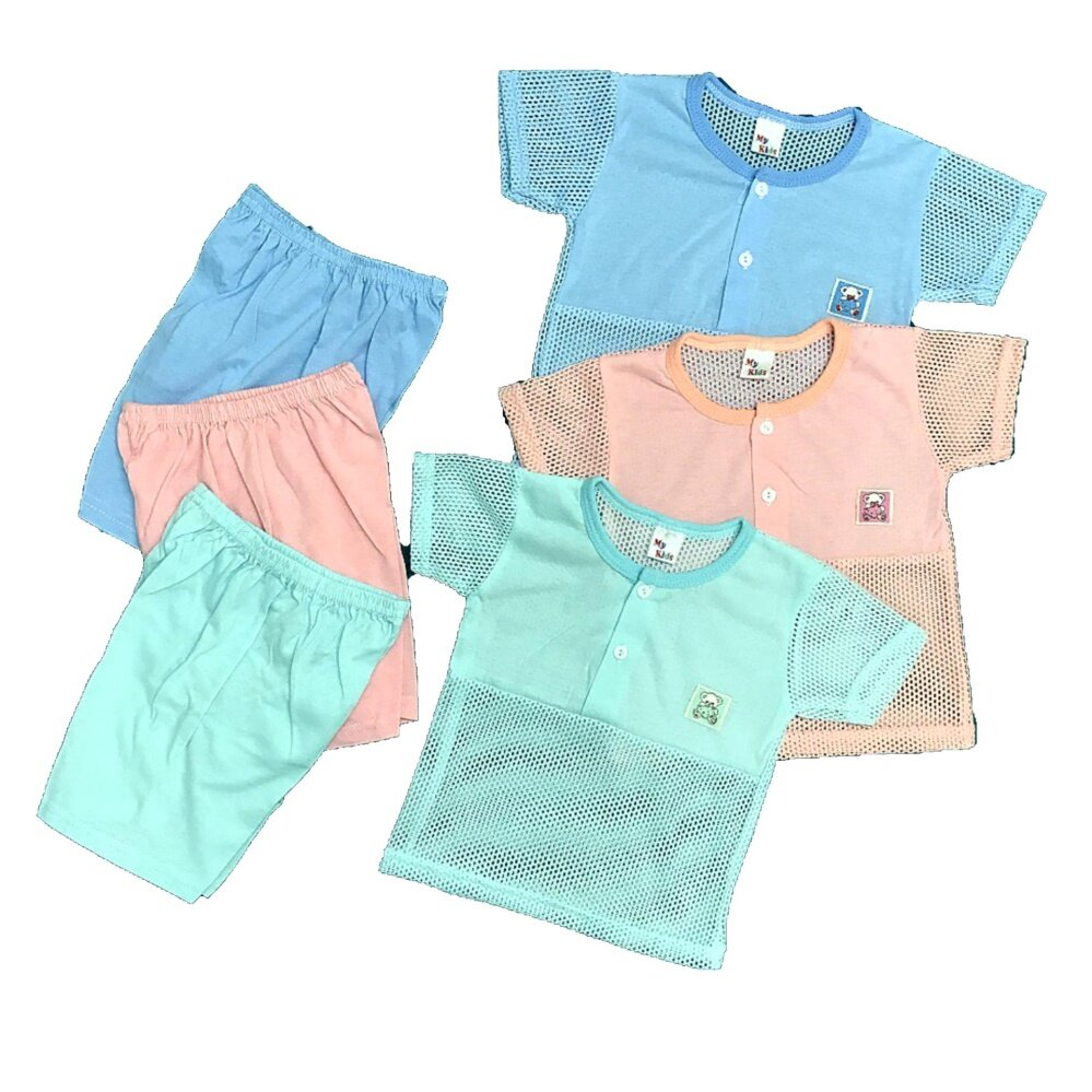 NewBorn & Baby 3 SET Eyelet Casual wear- 018 (Fit to Age: 6-18Mth Mass:8-12kg Height:69-80CM)
