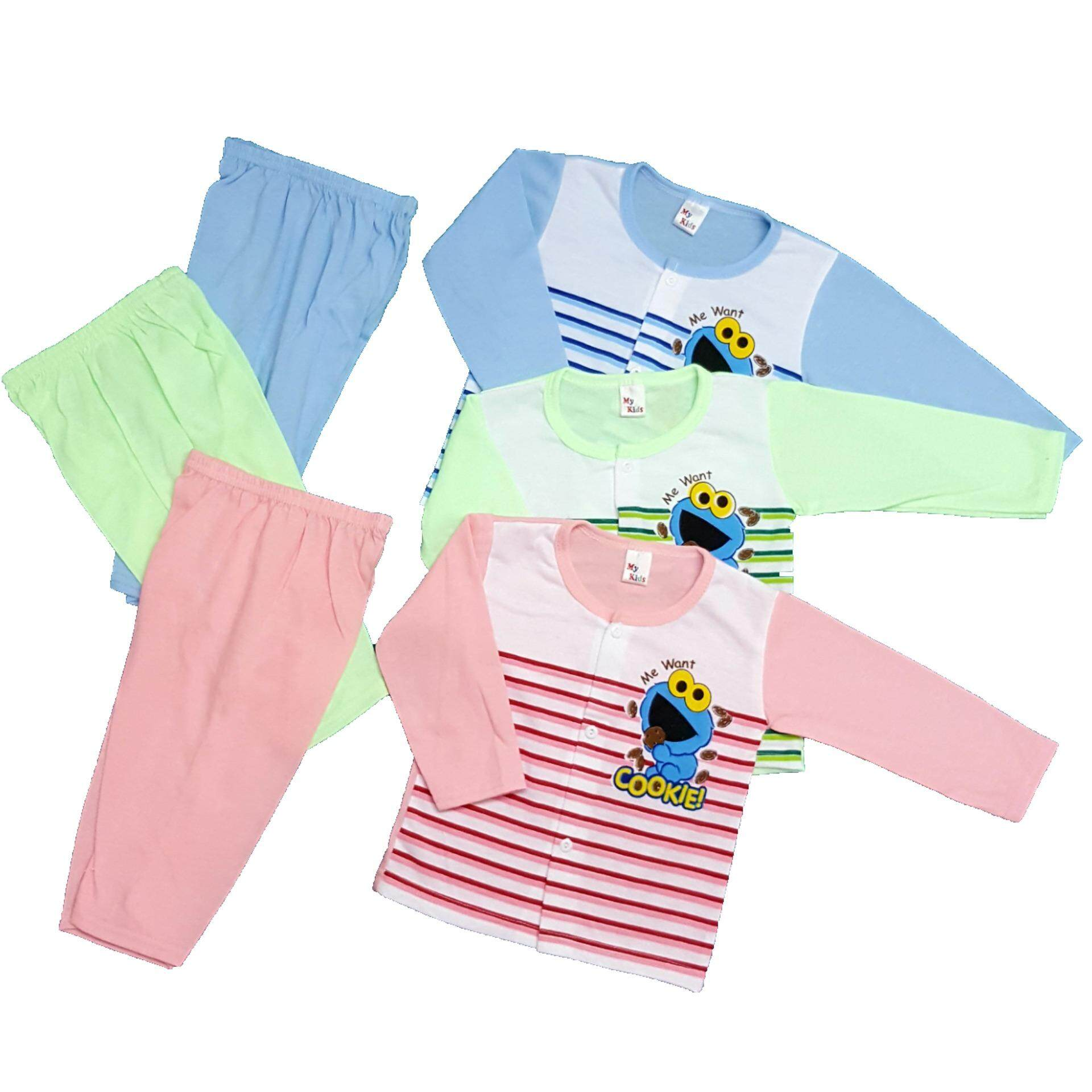 Newborn & Baby 3 SET S.S Printing Pajamas -300 (Fit to Age: 6-18Mth Mass:8-12kg Height:69-80CM)